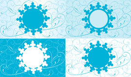 Set of christmas cards with snowflake Stock Images