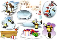 Set for Christmas cards. (Vector) Stock Photo