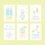 Set of 6 Christmas cards. Vector illustration Stock Photography