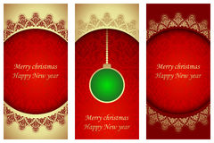 Set of christmas cards in Victorian style. Stock Photography