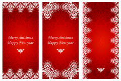 Set of christmas cards in Victorian style. Stock Images