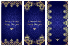 Set of christmas cards in Victorian style. Royalty Free Stock Photo