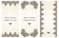 Set of christmas cards in Victorian style. Stock Photos