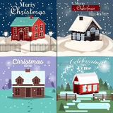 Set of Christmas Cards. With winter home, xmas tree, snow globe, and reindeer elements. Ideal for holiday invitation or greeting c. Set of Christmas Cards, flat Royalty Free Stock Images