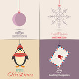 Set of Christmas Cards. With winter home, xmas tree, snow globe, and reindeer elements. Ideal for holiday invitation or greeting c. Set of Christmas Cards, flat Royalty Free Stock Image
