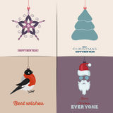 Set of Christmas Cards. With winter home, xmas tree, snow globe, and reindeer elements. Ideal for holiday invitation or greeting c. Set of Christmas Cards, flat Stock Photography