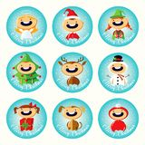 Set of Christmas cartoon stickers with cute children in colorful costumes Stock Photos