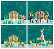 Set of Christmas Celebrating Vector Concepts. Flat design. Holiday shopping with family in mall and fairy elfs packing gifts, fireworks and Santa on sleigh in Royalty Free Stock Photo