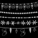 Set of christmas chalk doodle garlands, dividers, s Royalty Free Stock Photos