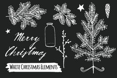 Set of christmas chalk sketches,  hand drawn  objects Royalty Free Stock Image