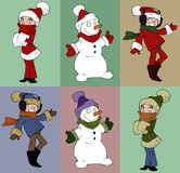 Set of christmas character Stock Image