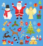 Set of Christmas characters and elements icons, santa and snowman and deer in cartoon flat style stock illustration