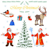 Set of Christmas characters Santa Claus and his little helpers, winter tree and floral decorations. Vector illustration Royalty Free Stock Images