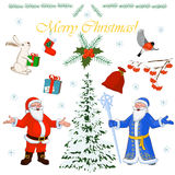 Set of Christmas characters Santa Claus and his little helpers, winter tree and floral decorations. Vector illustration Stock Photo