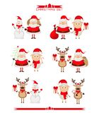 Set of Christmas characters, Santa Claus, reindeer. Snowman 2015 Royalty Free Stock Photos