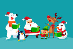 Set of Christmas Characters singing Christmas carols Royalty Free Stock Photos