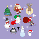Set of Christmas characters Stock Photo