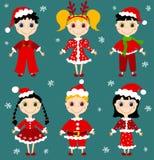 Set of christmas chilgren. Set of six christmas children. Vector illustration Royalty Free Stock Photography