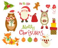 Collection of Christmas characters - cute animals and Santa Clau Royalty Free Stock Photos