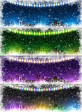 Set of Christmas city backgrounds Royalty Free Stock Photo