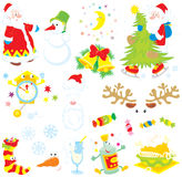 Set of Christmas clip-arts. Vector clip-arts of Santa Claus, snowman, moon and stars, Christmas tree, clock, Santa's hat and beard, sweets, sock with candies Royalty Free Stock Photos