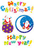Set of Christmas clip-arts. Vector clip-arts of Santa Claus sitting on a half-moon and his toy bag with Christmas gifts. Merry Christmas and Happy New Year Royalty Free Stock Photo