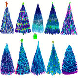 Set of Christmas colored trees  on white background. Vector illustration. Royalty Free Stock Images