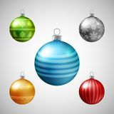 Set of Christmas colorful baubles, New Year decoration elements, Royalty Free Illustration