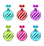 Set Christmas Colorful Glassy Balls Royalty Free Stock Images