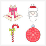 Set of Christmas Colorful Line Style Icons Royalty Free Stock Image