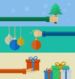 Set of christmas concepts in flat design Royalty Free Stock Photography