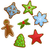 Set of Christmas cookies. Set of different shaped christmas cookies Royalty Free Stock Images