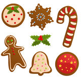 Set of Christmas cookies. Set of different shaped christmas cookies Stock Image