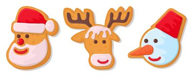 Set of christmas cookies. Set of different gingerbread cookies for christmas. New Year gingerbread in the form of Christmas. Characters. Different new year stock illustration