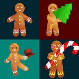 Set christmas cookies gingerbread man decorated with icing dancing and having fun in hat with the Christmas tree and. Set christmas cookies gingerbread man and royalty free illustration