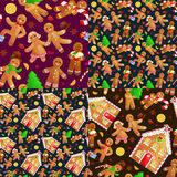 Set christmas cookies gingerbread man decorated with icing dancing and having fun in hat with the Christmas tree and. Set christmas cookies gingerbread man and stock illustration