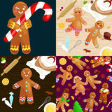 Set christmas cookies gingerbread man decorated with icing dancing and having fun in hat with the Christmas tree. Set christmas cookies gingerbread man and girl vector illustration