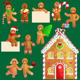 Set christmas cookies gingerbread man and girl near sweet house decorated with icing dancing and having fun in a cap. With the Christmas tree and gifts, xmas stock illustration