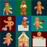Set christmas cookies gingerbread man and girl near sweet house decorated with icing dancing and having fun Stock Image