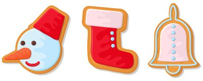 Set of christmas cookies. Set of different gingerbread cookies for christmas. New Year gingerbread in the form of Christmas. Characters. Different new year vector illustration