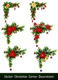 Set of Christmas corner decorations. Isolated on white vector set Royalty Free Stock Images