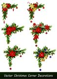 Set of Christmas corner decorations. Isolated on white vector set Royalty Free Stock Image