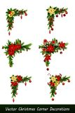 Set of Christmas corner decorations. Isolated on white vector set Stock Images