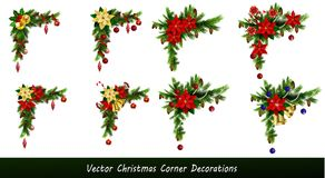 Set of Christmas corner decorations. Isolated on white vector set Stock Photo