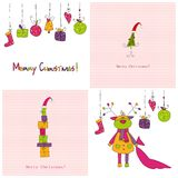 Set of Christmas covers. Colorful illustrations for greeting cards Stock Photo