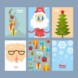 Set Christmas cute cards. Beautiful congratulations new year. To Stock Images