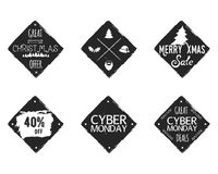 Set of Christmas, cyber monday sale ink, watercolor banners, labels, badges, patches with a winter shopping tag, tree. New year discount coupons, card. Hand Royalty Free Stock Photo