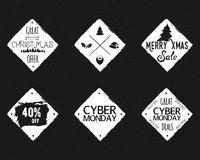 Set of Christmas, cyber monday sale ink Stock Photo