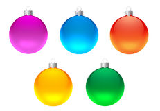 Set of christmas decoration. Five decoration balls for christmas tree Royalty Free Stock Photo