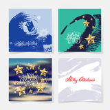 Set of christmas decoration background, golden stars. And handwritten lettering greeting quote on square collection, vector illustration eps10 royalty free illustration